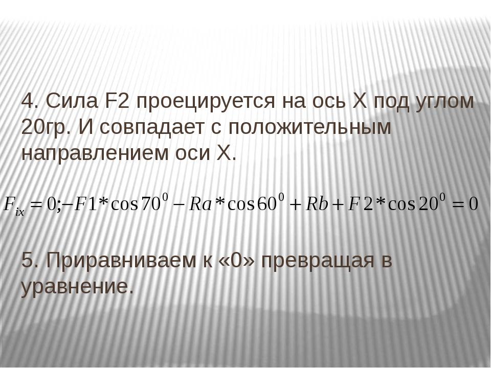 4. Сила F2 проецируется на ось Х под углом 20гр. И совпадает с положительным...