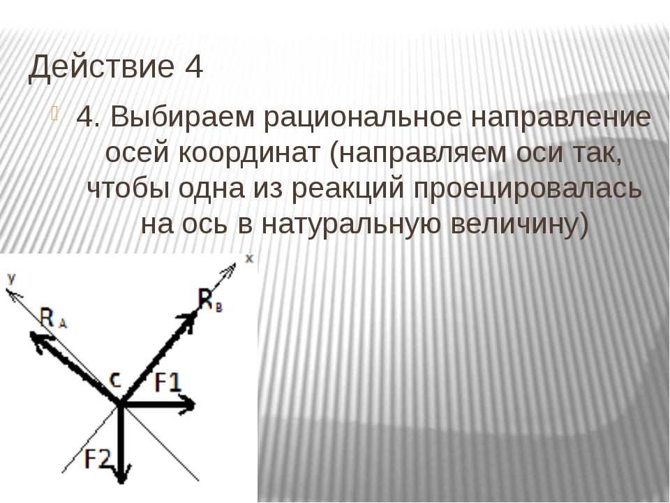 Действие 4 4. Выбираем рациональное направление осей координат (направляем ос...