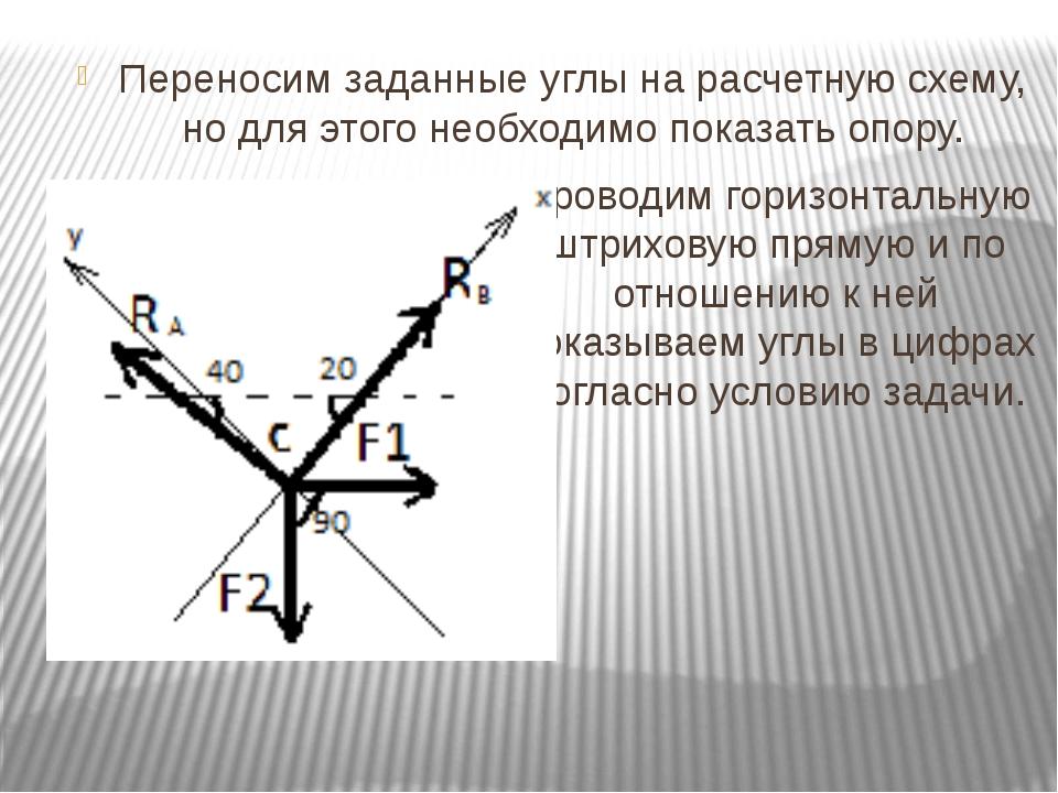 Переносим заданные углы на расчетную схему, но для этого необходимо показать...