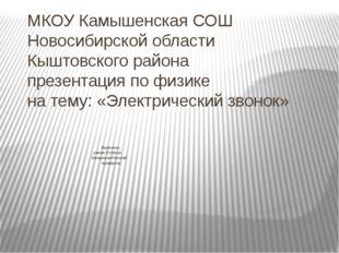 МКОУ Камышенская СОШ Новосибирской области Кыштовского района презентация по
