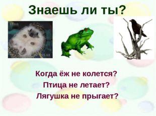 Знаешь ли ты? Когда ёж не колется? Птица не летает? Лягушка не прыгает?