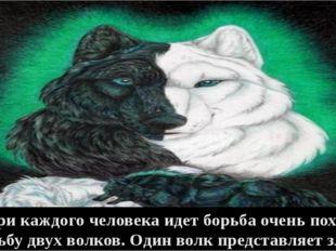 - Внутри каждого человека идет борьба очень похожая на борьбу двух волков. Од