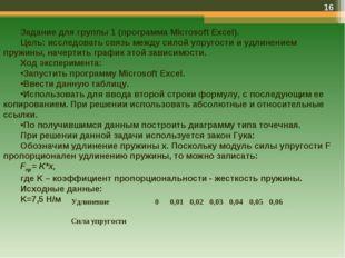* Задание для группы 1 (программа Microsoft Excel). Цель: исследовать связь м