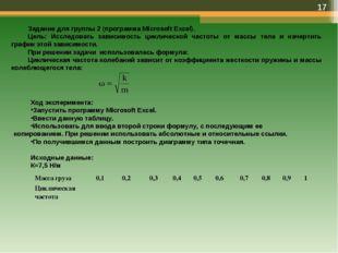 * Задание для группы 2 (программа Microsoft Excel). Цель: Исследовать зависим