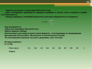 * Задание для группы 3 (программа Microsoft Excel). Цель: исследовать зависим