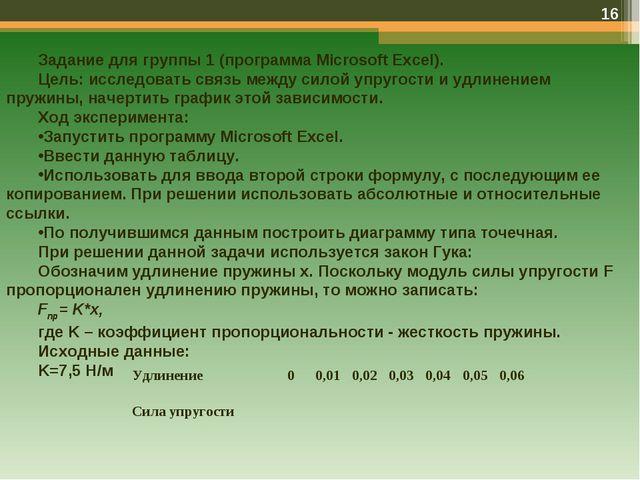 * Задание для группы 1 (программа Microsoft Excel). Цель: исследовать связь м...