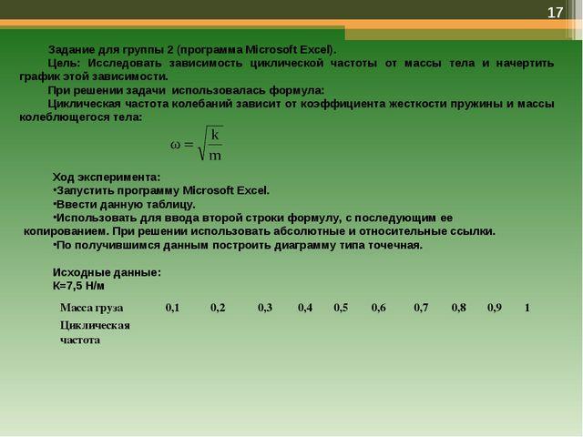 * Задание для группы 2 (программа Microsoft Excel). Цель: Исследовать зависим...