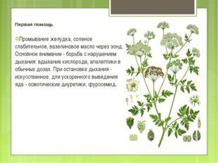 Первая помощь Промывание желудка, соленое слабительное, вазелиновое масло чер