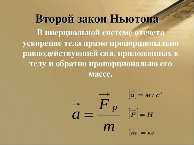Второй закон Ньютона В инерциальной системе отсчета ускорение тела прямо про...