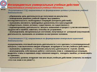 Метапредметные универсальные учебные действия Регулятивные универсальные учеб