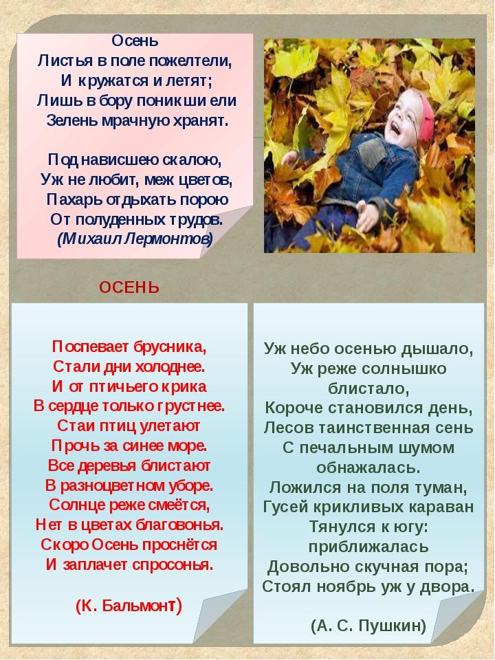 Осень Листья в поле пожелтели, И кружатся и летят; Лишь в бору поникши ели З...