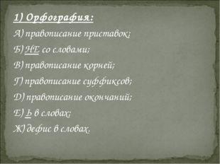 1) Орфография: А) правописание приставок; Б) НЕ со словами; В) правописание к