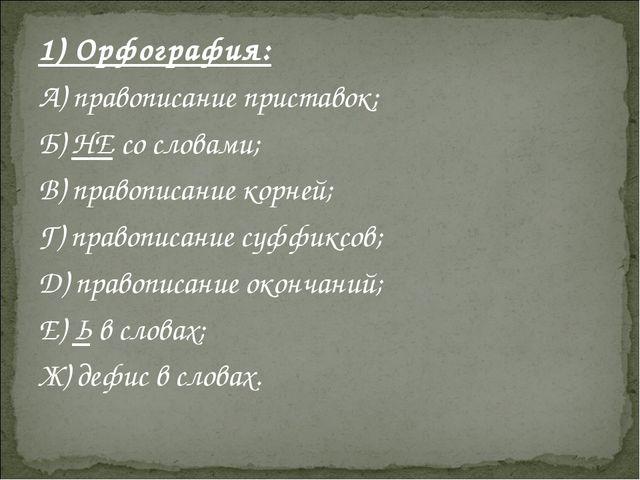 1) Орфография: А) правописание приставок; Б) НЕ со словами; В) правописание к...