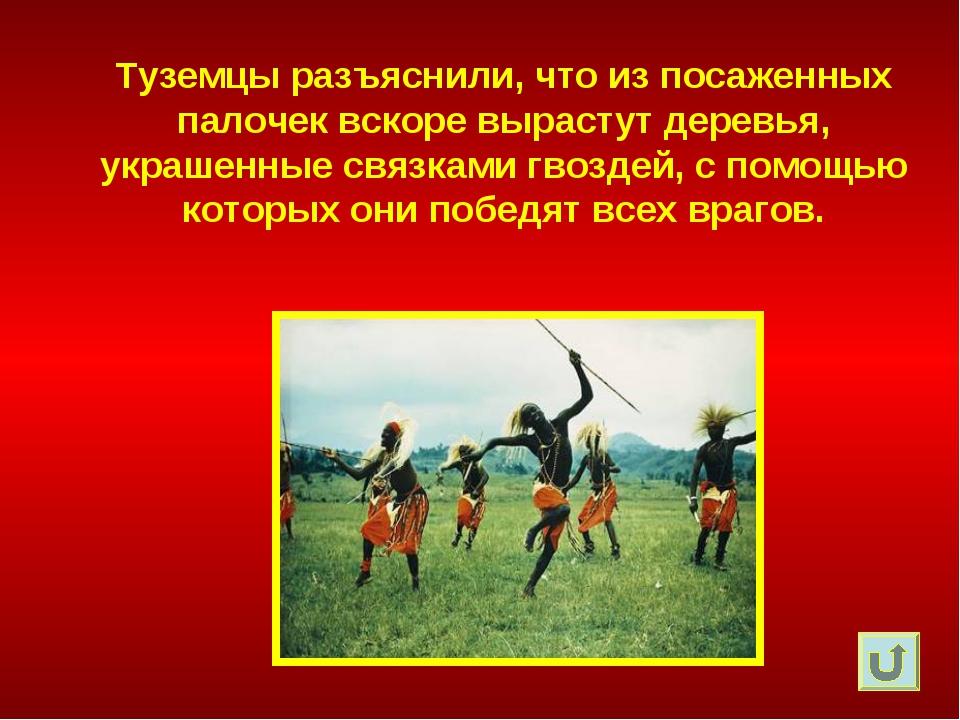 Туземцы разъяснили, что из посаженных палочек вскоре вырастут деревья, украше...