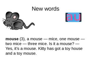 New words mouse (3), a mouse — mice, one mouse — two mice — three mice. Is it