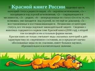 В Красной книге России выделяют шесть категорий статуса редкости видов: «0» -