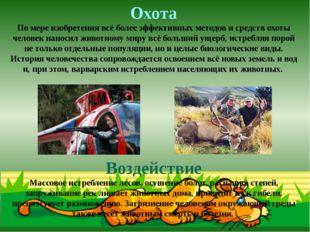 Охота По мере изобретения всё более эффективных методов и средств охоты челов
