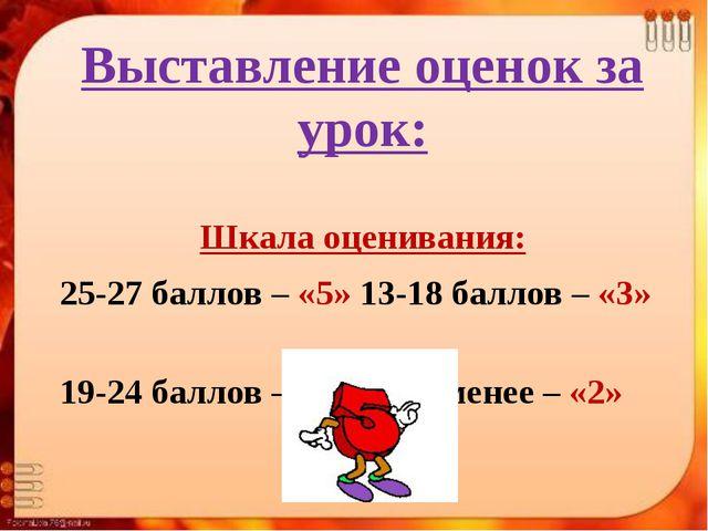 Выставление оценок за урок: Шкала оценивания: 25-27 баллов – «5» 13-18 баллов...