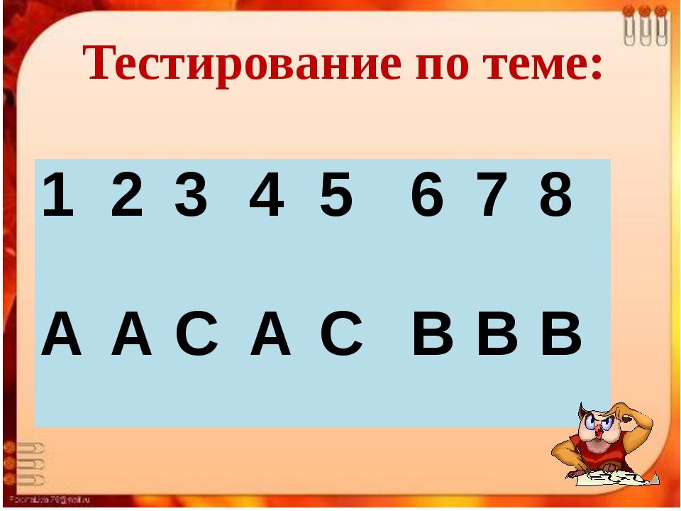 Тестирование по теме: 1 2 3 4 5 6 7 8 А А С А С В В В