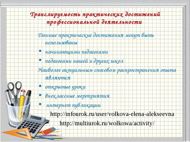 Транслируемость практических достижений профессиональной деятельности Данные...