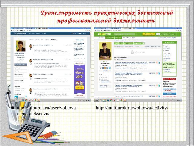 Транслируемость практических достижений профессиональной деятельности http://...