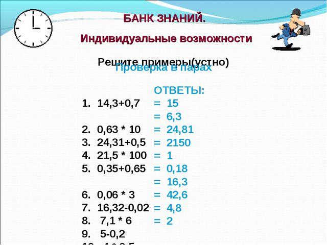 БАНК ЗНАНИЙ. Индивидуальные возможности 14,3+0,7 0,63 * 10 24,31+0,5 21,5 *...