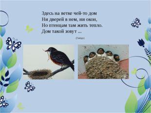 Здесь на ветке чей-то дом Ни дверей в нем, ни окон, Но птенцам там жить тепло