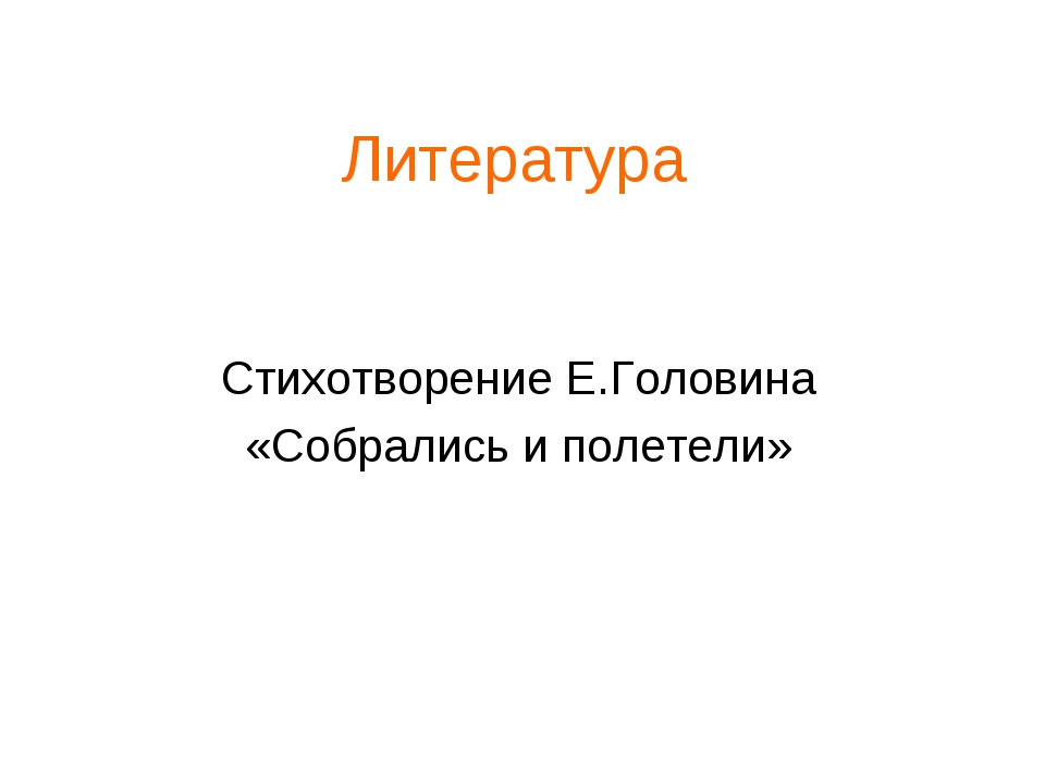 Литература Стихотворение Е.Головина «Собрались и полетели»