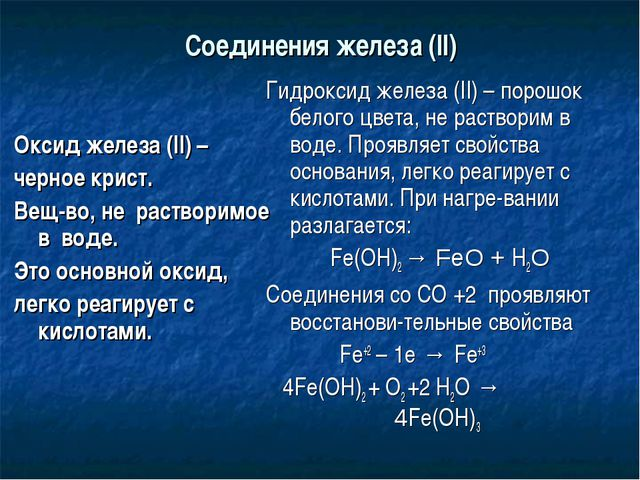 Соединения железа (II) Оксид железа (II) – черное крист. Вещ-во, не растворим...
