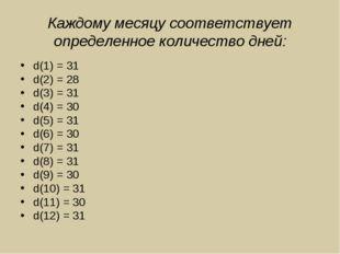 Каждому месяцу соответствует определенное количество дней: d(1) = 31 d(2) = 2