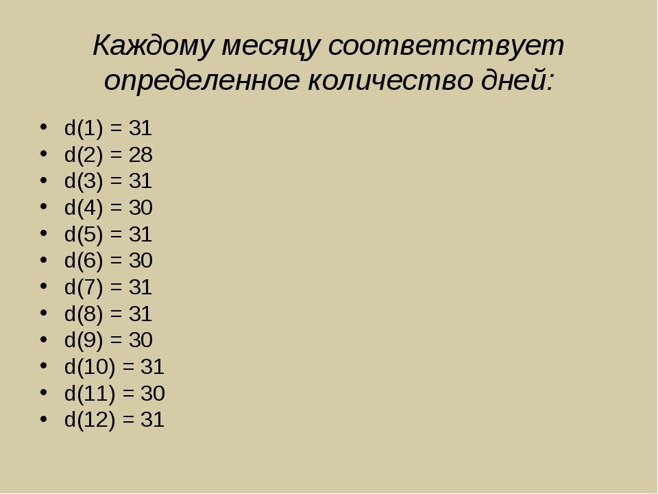 Каждому месяцу соответствует определенное количество дней: d(1) = 31 d(2) = 2...