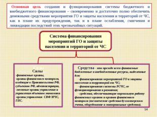 * Основная цель создания и функционирования системы бюджетного и внебюджетног