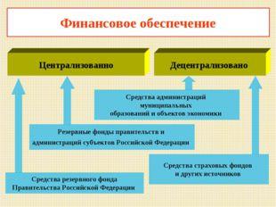 Финансовое обеспечение Средства резервного фонда Правительства Российской Фед