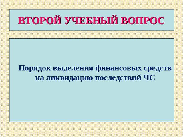 ВТОРОЙ УЧЕБНЫЙ ВОПРОС Порядок выделения финансовых средств на ликвидацию посл...