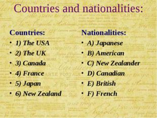 Countries and nationalities: Countries: 1) The USA 2) The UK 3) Canada 4) Fra