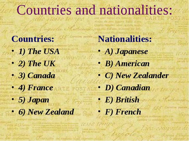Countries and nationalities: Countries: 1) The USA 2) The UK 3) Canada 4) Fra...