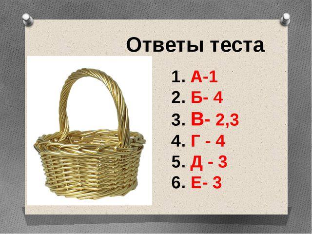 Ответы теста 1. А-1 2. Б- 4 3. В- 2,3 4. Г - 4 5. Д - 3 6. Е- 3