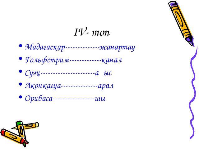 IV- топ Мадагаскар--------------жанартау Гольфстрим-------------канал Суэц--...