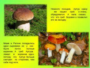 Немного походив, Артур сразу же нашел гриб и очень обрадовался. А папа сказал