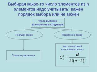 Выбирая какое-то число элементов из n элементов надо учитывать: важен порядок