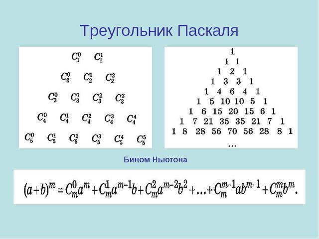 Треугольник Паскаля Бином Ньютона