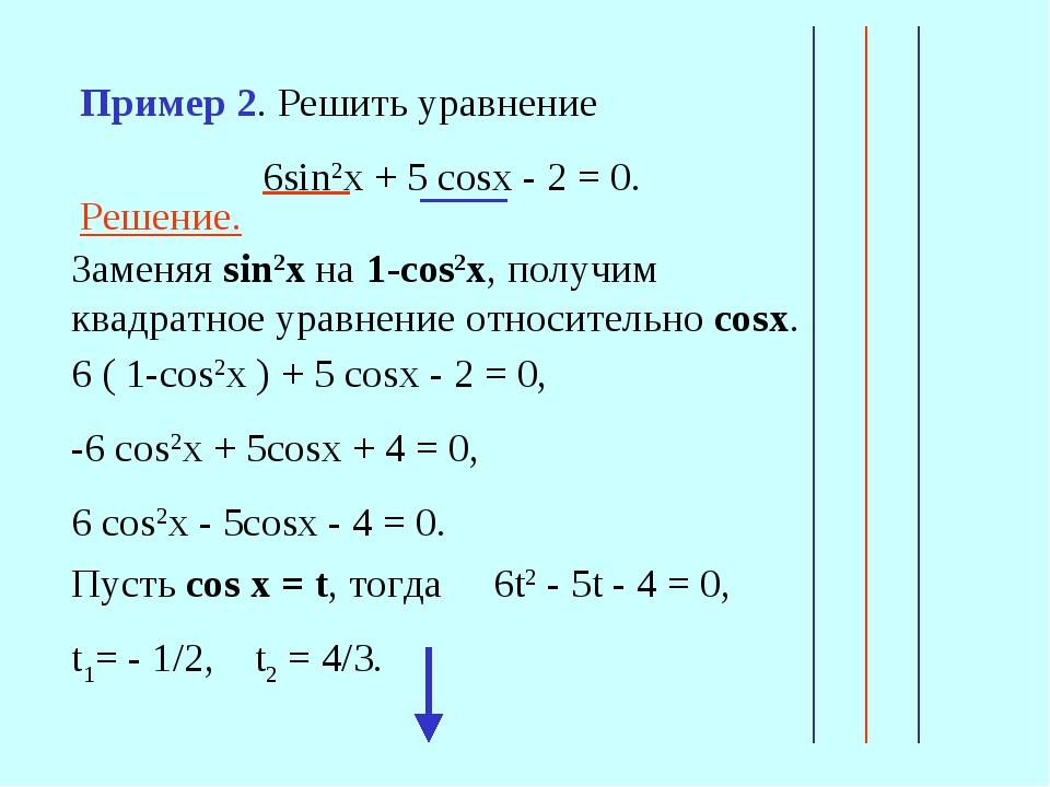 Решение. Заменяя sin2x на 1-сos2x, получим квадратное уравнение относительно...