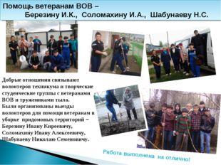 Помощь ветеранам ВОВ – Березину И.К., Соломахину И.А., Шабунаеву Н.С. Работа