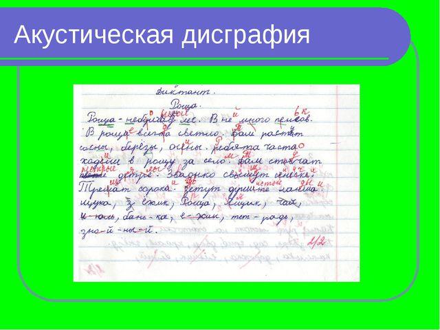 Акустическая Проявления нарушения письма Замены букв, соответствующих фонемат...