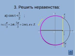 3. Решить неравенства: а) cos t < ; 0 x y -1 1