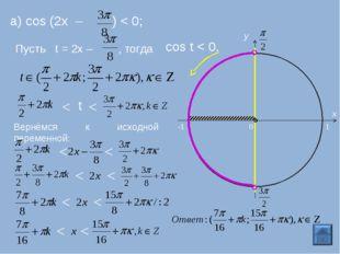 а) cos (2x – ) < 0; Пусть t = 2х – , тогда cos t < 0. 0 y -1 1 x < < t Вернём