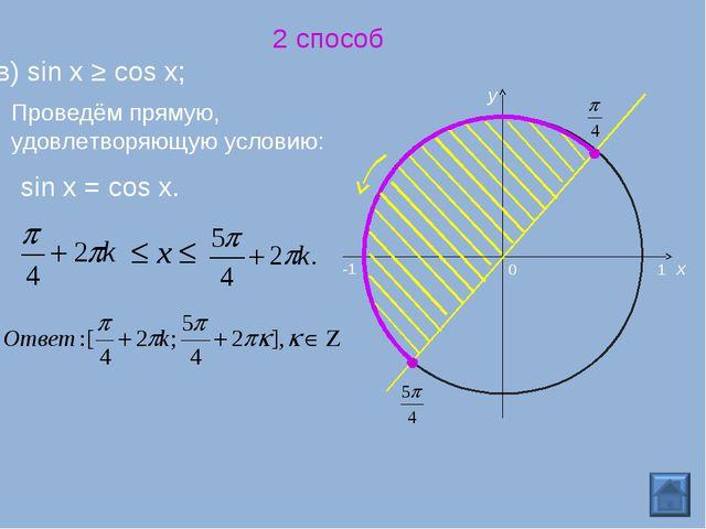2 способ в) sin x ≥ cos x; 0 x y -1 1 Проведём прямую, удовлетворяющую услови...