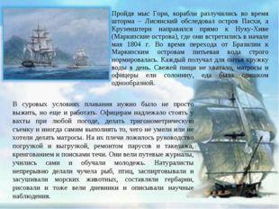 Пройдя мыс Горн, корабли разлучились во время шторма – Лисянский обследовал о
