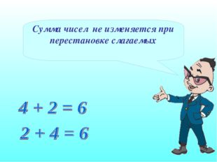 Сумма чисел не изменяется при перестановке слагаемых