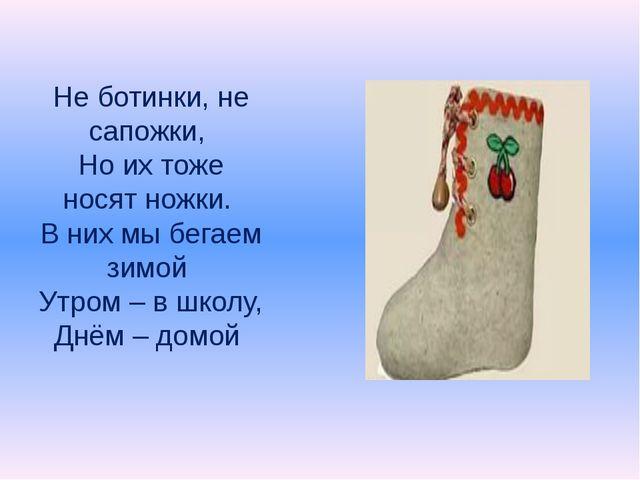 Не ботинки, не сапожки, Но их тоже носят ножки. В них мы бегаем зимой Утром –...